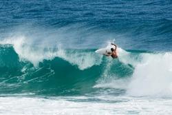Surfing Burleigh Heads, Gold Coast.