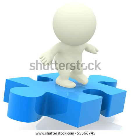 Surfing on a puzzle piece - isolated over a white background