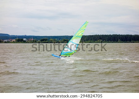 Surfing / Surfer at the Altmuehlsee, Bavaria, Germany