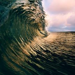 Surfing tropical design template. breaking ocean wave closing