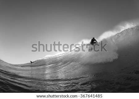 Surfing Water Action\ Surfing surfer water action take off catching  wave vintage black and white