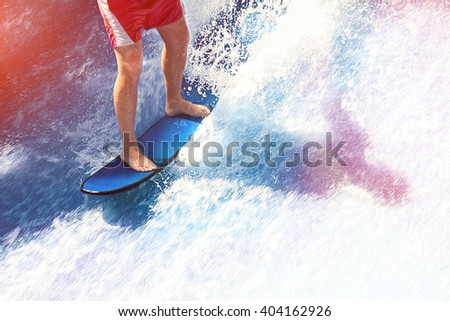surfing with water splashes in beautiful sun rays / fake wave riding / Thailand feb 2016 #404162926