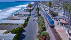 Surfliner Leaves Train Station in Southern California (San Clemente)