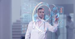 Surgeon doctor looking at futuristic medical charts at a high tech hospital
