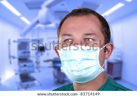 surgeon in operating room with mask