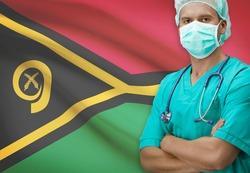 Surgeon with flag on background - Vanuatu
