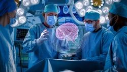 Surgeons Perform Brain Surgery Using Augmented Reality, Animated 3D Brain. High Tech Technologically Advanced Hospital. Futuristic Theme.