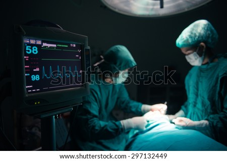 Surgeons team working with Monitoring of patient in surgical operating room. selective focus on Monitor