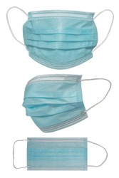 Surgical mask with rubber ear straps. Typical 3-ply surgical mask to cover the mouth and nose. Procedure mask from bacteria. Protection concept.