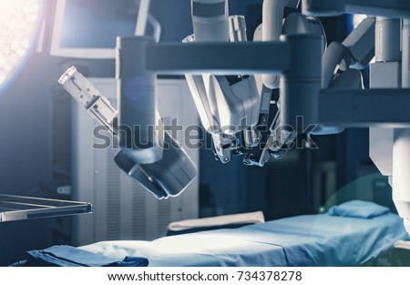Surgical room in hospital with robotic technology equipment, machine arm surgeon in futuristic operation room. Minimal invasive surgical inoovation, medical robot surgery with 3D view endoscopy