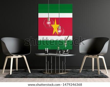 Suriname Flag in Room, Suriname Flag in Photo Frame #1479246368