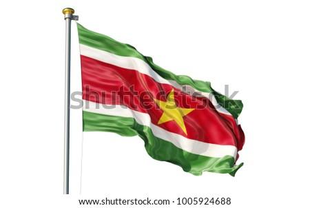Suriname flag. Isolated 3d Suriname flag