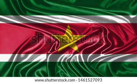 Suriname Flag of Silk, Flag of Suriname fabric texture background. #1461527093