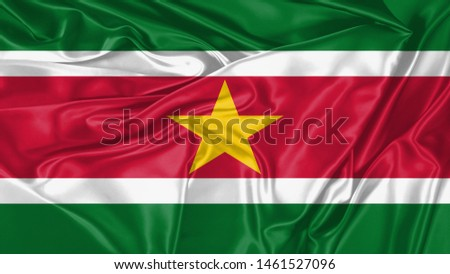 Suriname Flag of Silk, Flag of Suriname fabric texture background. #1461527096