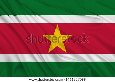 Suriname Flag of Silk, Flag of Suriname fabric texture background. #1461527099