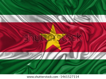 Suriname Flag of Silk, Flag of Suriname fabric texture background. #1461527114