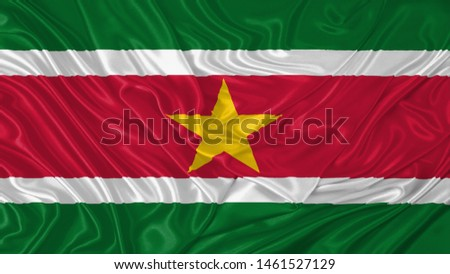 Suriname Flag of Silk, Flag of Suriname fabric texture background. #1461527129