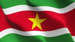 Suriname flag waving on wind. Surinamese flag blowing in the wind with highly detailed fabric texture. Realistic rendering quality.