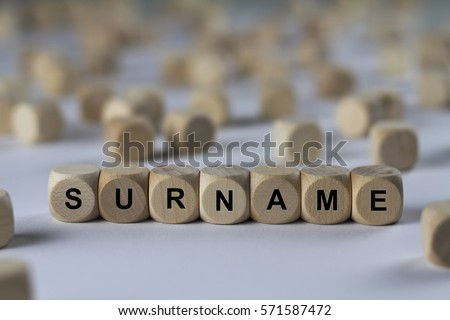 surname - cube with letters, sign with wooden cubes