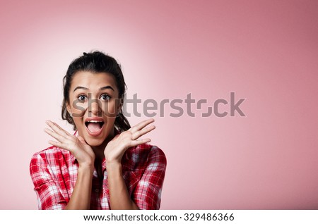 Surprise astonished beautiful mixed race woman. Closeup portrait woman surprised in full disbelief open mouth and palms isolated on background. Positive human emotion facial expression body language.