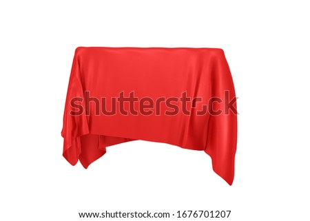 Surprise, Award or Prize Concept. Hidden Object Covered with Red Silk Cloth on a white background. 3d Rendering Stockfoto ©