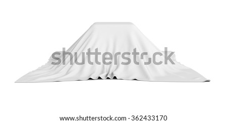 surprise box covered with white cloth. 3d render illustration Stockfoto ©