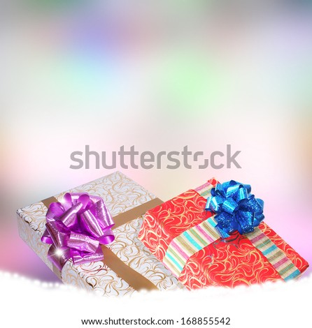 Surprise boxes in New Year Holiday.Christmas.Gift boxes on a snow