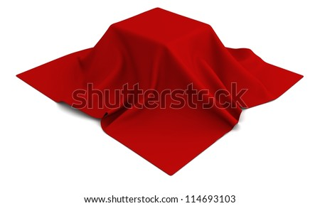 Surprise gifn under the red silk cloth on white background