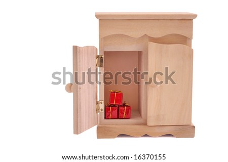surprise of small cupboard isolated on white, with clipping path