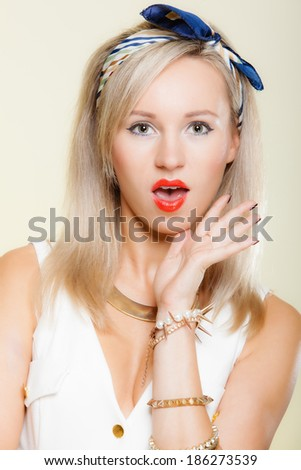 Surprised astonished woman face, blonde girl retro style open mouth facial wow expression