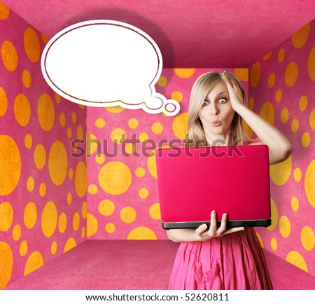 surprised blonde in pink dress with thought bubble and laptop in pink room
