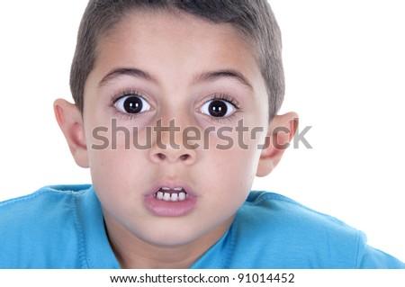 Surprised boy isolated on white background