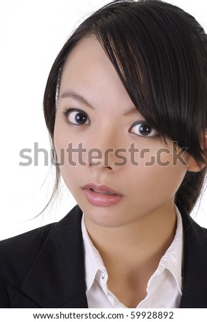 Surprised business woman face, closeup portrait on white background.