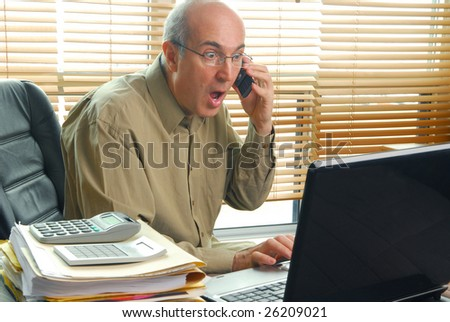 Surprised businessman after stock went down