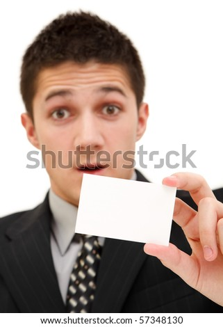 Surprised businessman with a white card