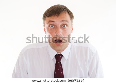 surprised by a man standing on a white background