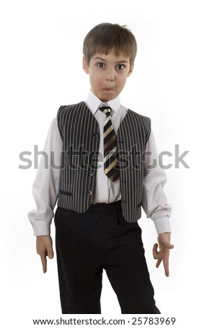Surprised child in businessman's wear isolated on white