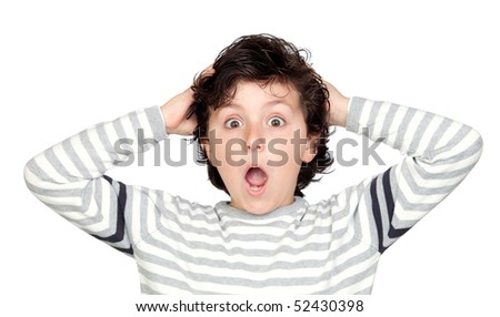 Surprised child isolated on white background