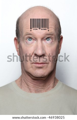 Surprised consumer with a bar code on his forehead
