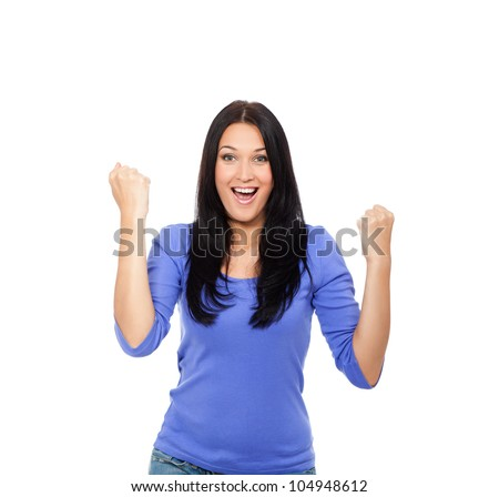 surprised excited smile woman hold hands up, winner young girl hold fist with success, yes, ok gesture, isolated over white background