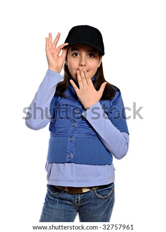 Surprised girl in blue outfit and baseball cap