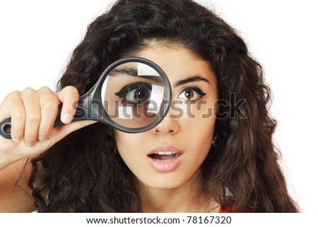 stock-photo-surprised-girl-looking-through-magnifying-glass-78167320 - For Men Only - Jokes and Humor