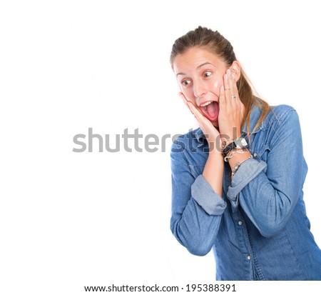 Surprised girl posing