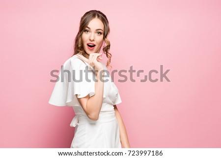 surprised happy beautiful woman ...