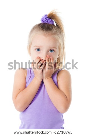 surprised little girl in purple t-shirt isolated