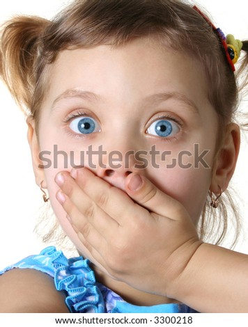Surprised little girl  isolate on white