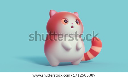 Surprised little kawaii red cat with open mouth and big orange eyes stands on its hind legs on blue background. Cartoon funny cute fat cat with white belly and a striped tail. 3d digital illustration.