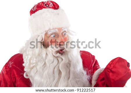 surprised look of Santa Claus, white background