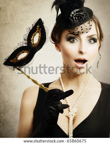 Surprised Retro Woman.Masquerade