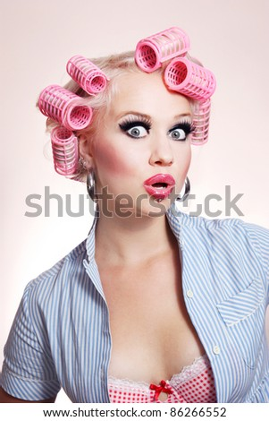 stock photo : Surprised sexy housewife. Save to a lightbox ▼. Please Login.